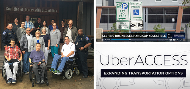 3 images. 1 A large group of men and women, some seated in wheelchairs at the front, pose for a photo on a large wooden porch. 2 Screen shot of a news broadcast, a reserved parking sign with the title Keeping Businesses Handicap Accessible below. 3 Uber ACCESS logo, the words UberACCESS, expanding transportation option appear on top of outlines of two cars.