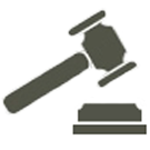 Civil Rights icon. A simplified representation of a gavel hovers above a block.