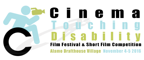 Film Fest logo. A blue handy man leaning forward holds a green video camera. The wheel of his wheelchair forms the C in the phrase Cinema Touching Disability.
