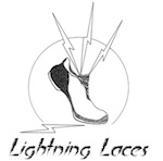 Lightning Laces logo: running shoe shooting lightning bolts