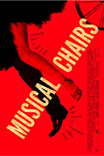 Musical Chairs banner: on a red back ground, a leg in tuxedo pants, a leg in ballroom dancing shoes and feathery skirt, and wheel run from top right to bottom left.