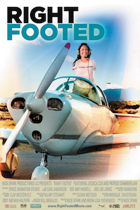 Jessica Cox, a young woman with no arms, stands up in the cockpit of a propeller plane. The words Right Footed hover above.