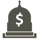 State Budget icon. A 2-dimensional representation of the state Capitol building with a dollar sign on the dome.