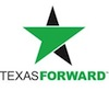 Texas Forward logo: a five-pointed star, incorporating the shape of a green arrow pointing to the right.