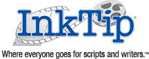 InkTip logo. In blue typewriter font, the word InkTip is superimposed over an unwinding film reel.